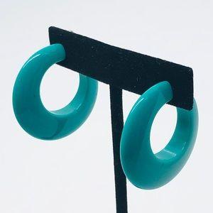 Teal Clip-On Hoop Earrings
